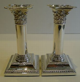 Antique Pair Antique English Sterling Silver Candlesticks by Henry Matthews - 1896