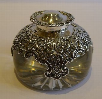 Antique English Glass & Sterling Silver Inkwell by William Comyns - 1895