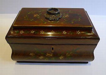 Antique Antique English Tea Caddy - Floral Painted Mahogany c.1820