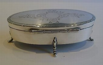 Antique English Sterling Silver Jewelry Box - Birmingham 1919