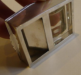 Antique Rare Sterling Silver & Glass Combination Postage Stamp Box & Moistener