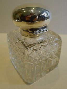 Antique Large Antique English Cut Crystal & Sterling Silver Inkwell - 1915