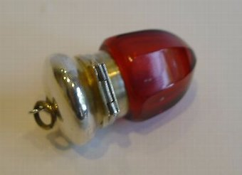 Antique Antique English Ruby Glass & Sterling Silver Vinaigrette c.1880