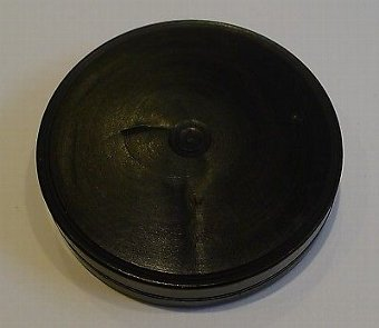 Antique Antique English Turned Ebony Wood Seal Box With Seal c.1830
