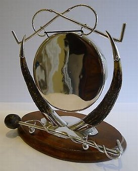 Antique Antique English Equestrian Oak & Silverplate Dinner Gong c.1890/1900