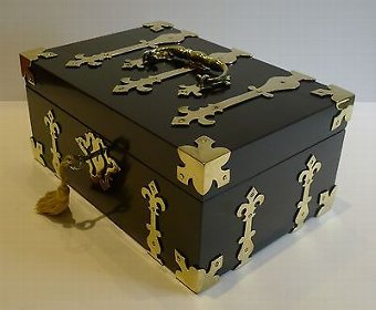 Antique Antique English Macassar Ebony Jewelry Box - Brass Mounted Chest c.1850