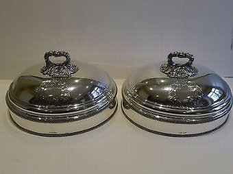 Antique Pair George III Old Sheffield Plate Food Domes by Samuel Mearbeck c.1815