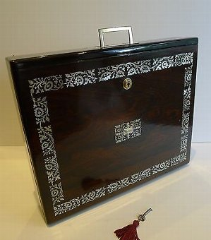 Rare English William IV Mother of Pearl Inlaid Rosewood Writing Box c.1830