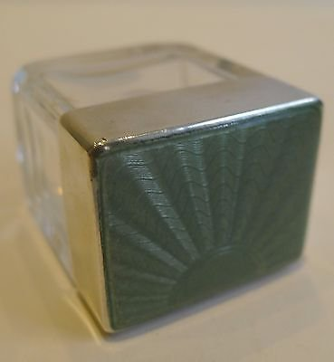 Antique Small English Art Deco Cut Glass, Sterling Silver & Guilloche Enamel Box - 1939