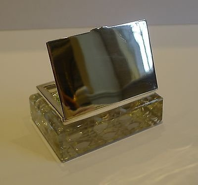 Antique Unusual Antique English Cut Crystal & Sterling Silver Double Postage Stamp Box