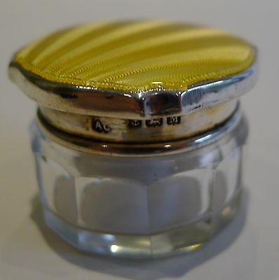 Antique English Sterling Silver & yellow Guilloche Enamel Lidded Pot - 1936