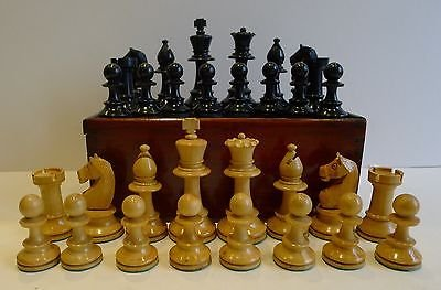 Antique Antique English Weighted Boxwood Chess Set With Storage Box c.1910