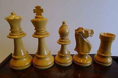 Antique Large Antique English Weighted Boxwood Chess Set With Storage Box c.1910