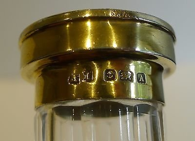 Antique Tall Slim Vintage Vanity Jar - Silver Gilt & Guilloche Enamel Top - 1924
