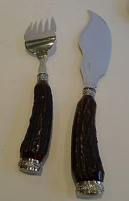 Antique Magnificent & Grand Antler Horn & Silver Fish Servers - 1886