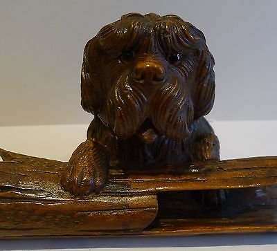 Antique Charming Antique Black Forest Figural (Dog) Inkwell c.1890