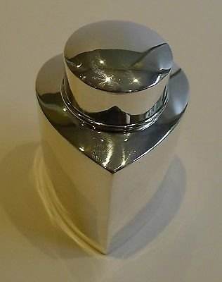 Antique Antique English Sterling Silver Heart Shaped Tea Caddy - 1894