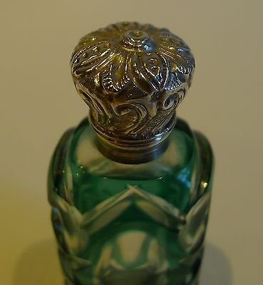 Antique Antique English Green Overlay Glass Perfume Bottle - Sterling Silver c.1890