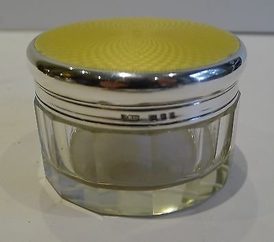 Antique English Sterling Silver & Guilloche Enamel Jar or Box - 1940