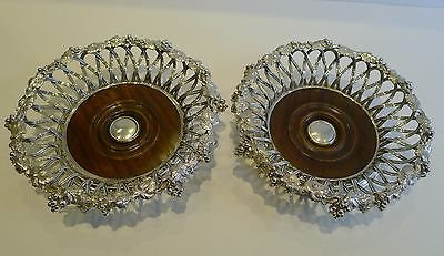 Antique Finest Antique English Elkington Silver Plate Wine Coasters (Pair) - 1854