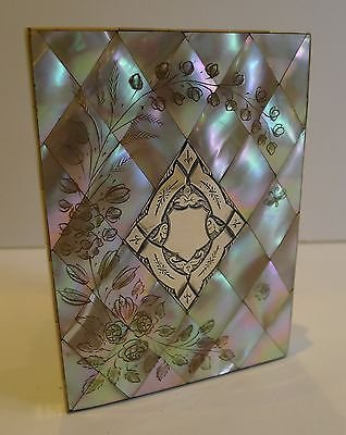 Antique Magnificent Antique English Mother of Pearl Shell Card Case