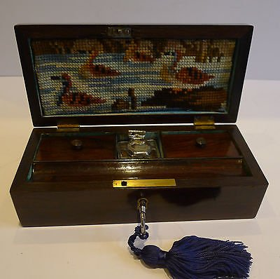 Antique Unusual English William IV Fitted Rosewood Travel Writing Box c.1830