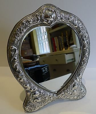 Antique Fabulous Large Antique English Sterling Silver Mirror - 1903