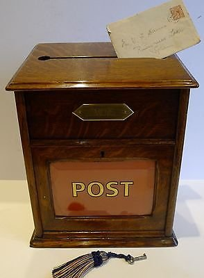 Antique Antique English Oak Country House Post of Letter Box c.1890