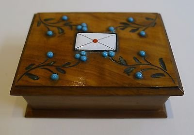 Antique Antique Olivewood Stamp Box - Turquoise Beads and Enamel Letter c.1900