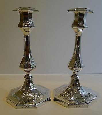 Antique Pair Antique English Silver Plated Candlesticks by Elkington - 1851