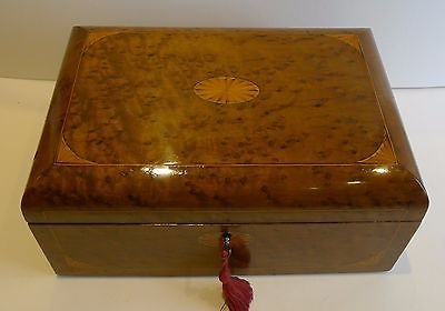 Antique Antique English Birdseye Maple Writing Slope / Lap Desk With Secret Drawers