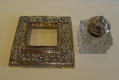 Antique Antique English Brass and Glass Inkwell c.1890