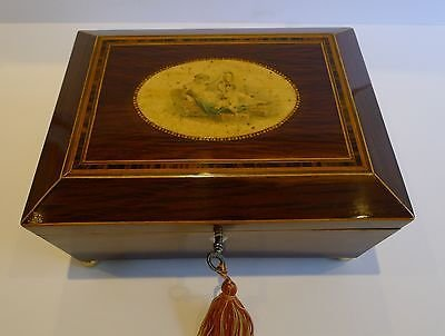 Antique English Partridge Wood Table Box - Mother & Child - Regency c.1820