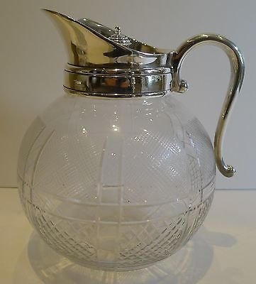 Unusual Antique English Spherical Cut Glass Serving Jug / Pitcher