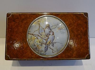 Unusual Antique Amboyna Trinket Box With Watercolor Under Glass c.1900