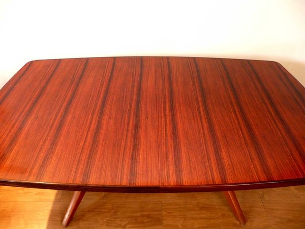 Antique 1950s Gordon Russell (Danish Style) Rosewood Dining Table + 8 Leather Chairs for Recovering