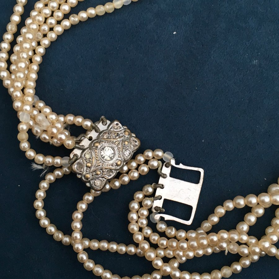 ANTIQUE EDWARDIAN 4 ROW PEARL BEAD NECKLACE CHAIN