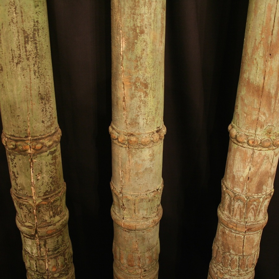 Antique A French Set Of 3 Carved Wooden Columns
