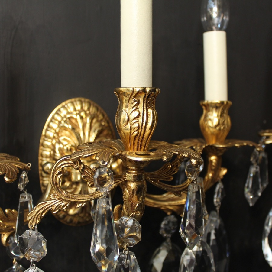 Antique Italian Pair Of Gilded Bronze Wall Lights
