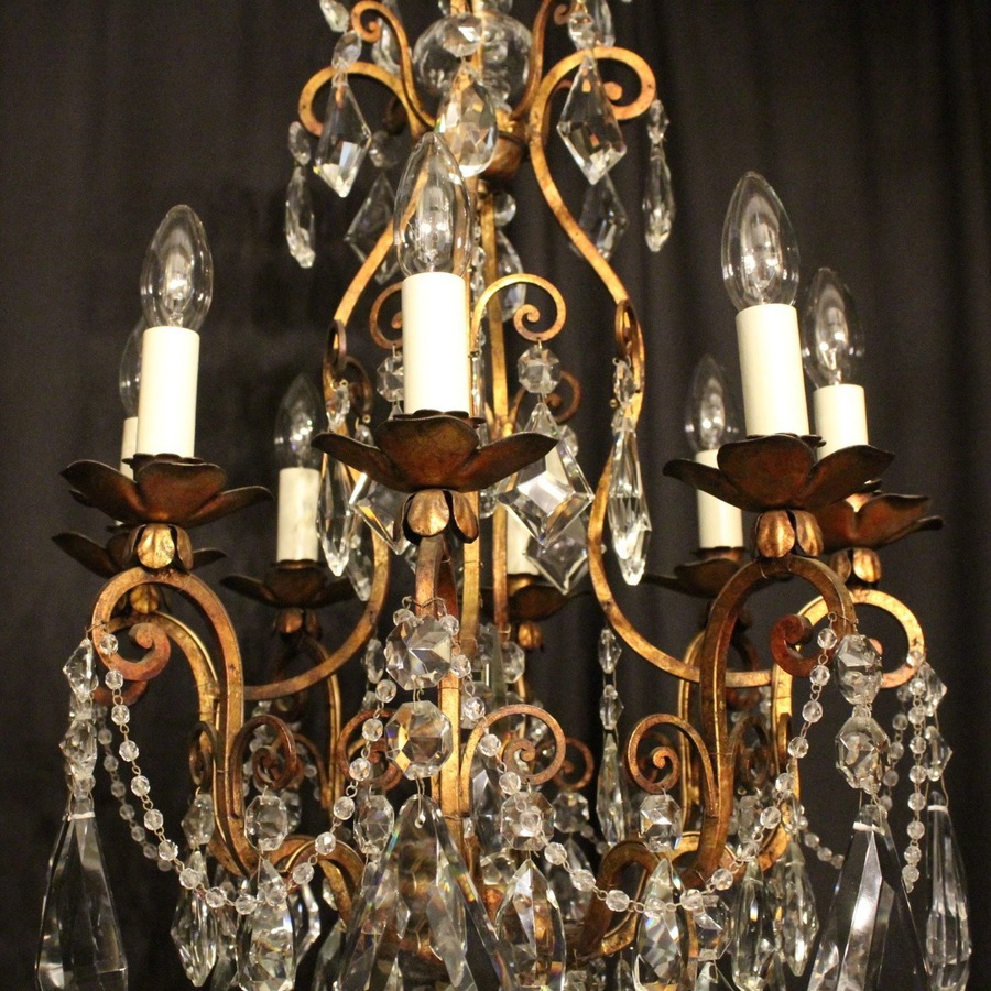 Antique Italian Florentine 8 Light Antique Chandelier
