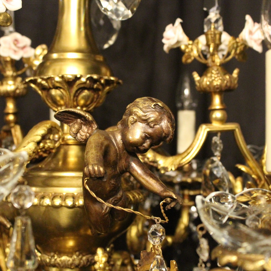 Antique French Bronze Cherub Antique Chandelier