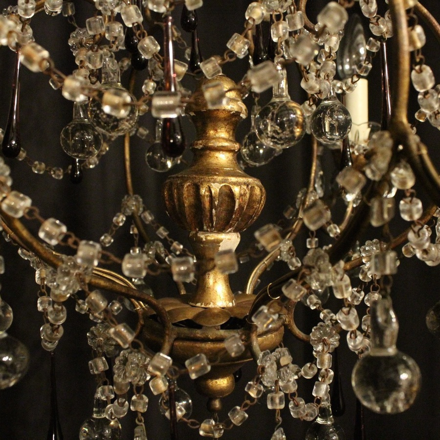Antique Italian Florentine Triple Light Antique Chandelier