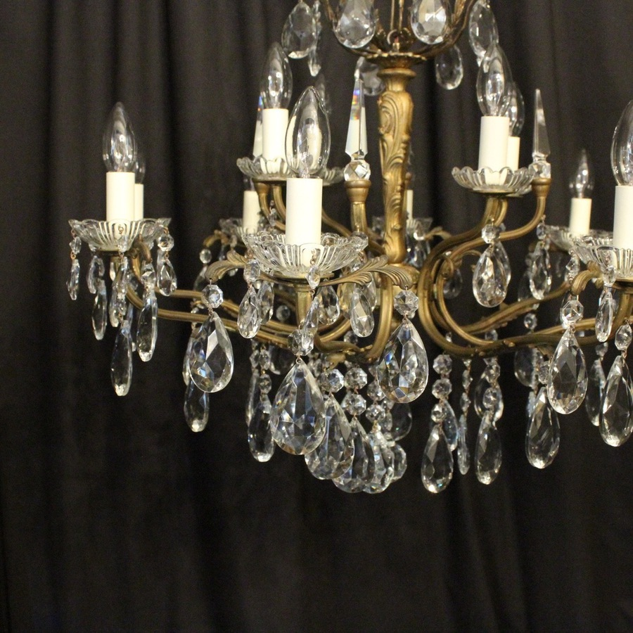 Antique Italian Gilded 12 Light Antique Chandelier