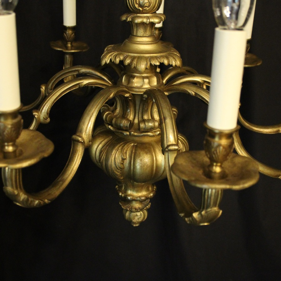 Antique English Gilded Cherub Bronze 8 Light Chandelier
