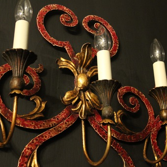 Antique Italian Pair Of Toleware 5 Arm Wall Lights