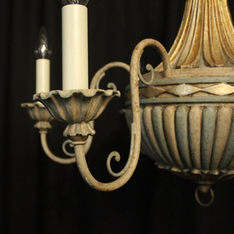 Antique Florentine 6 Light Polychrome Chandelier
