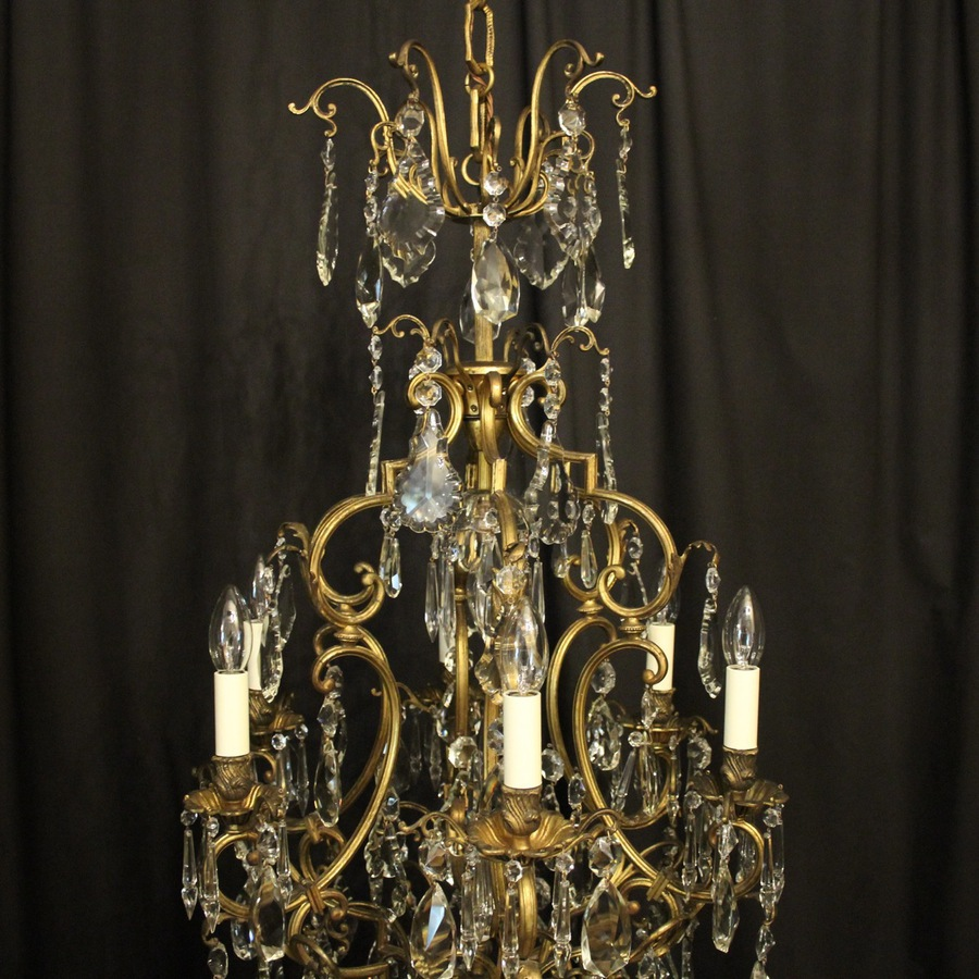 Antique French Bronze & Crystal 7 Light Chandelier