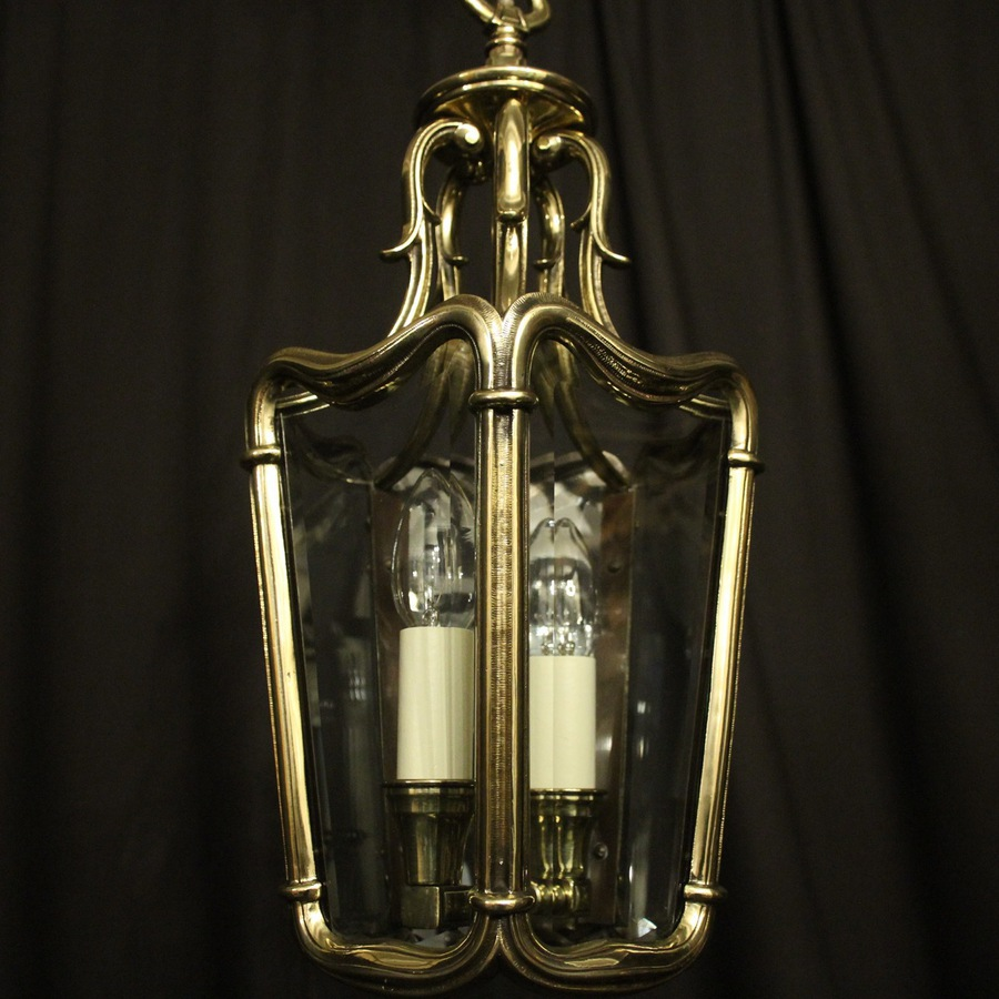 Antique French Twin Light Brass Antique Hall Lantern