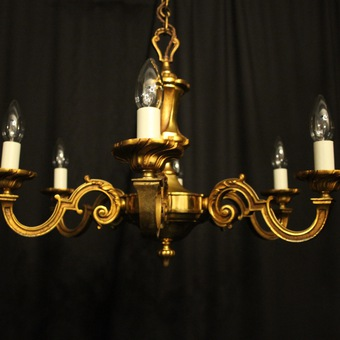 Antique French Gilded Bronze 6 Light Antique Chandelier