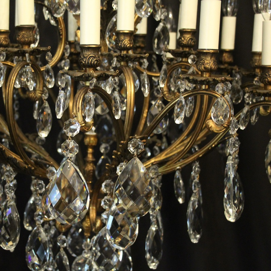 Antique French Gilded 21 Light Antique Chandelier